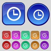 Clock sign icon. Mechanical clock symbol. Set colourful buttons. Vector — Stock Vector