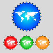 Globe sign icon. World map geography symbol. Set colourful buttons. Vector — Stock Vector