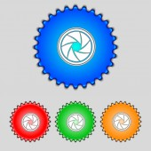 Diaphragm icon. Aperture sign. Set colourful buttons. Vector — Stock Vector