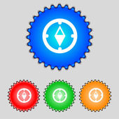 Compass sign icon. Windrose navigation symbol. Set colourful buttons. Vecto — Stock Vector