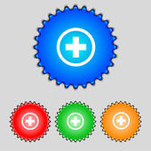 Plus sign icon. Positive symbol. Zoom in.Set colourful buttons. Vector — Stock Vector