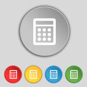 Calculator sign icon. Bookkeeping symbol. Set colour buttons. Vector — Stock Vector