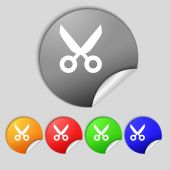 Scissors hairdresser sign icon. Tailor symbol. Set colourful buttons. Vector — Stock Vector