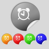 Alarm clock sign icon. Wake up alarm symbol. Set colourful buttons. Vector — Stock Vector