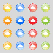 Cloud sign icon. Data storage symbol. Set colourful buttons. Vector — Vetor de Stock