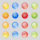 Check mark sign icon . Confirm approved symbol. Set colourful buttons. Vector — Stockvector