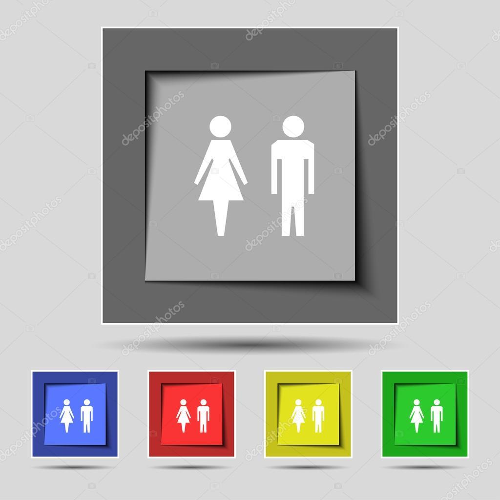 Ícone de sinal de WC símbolo de banheiro WC masculino e feminino conjunto  -> Icone Banheiro Feminino
