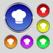 Chef hat sign icon. Cooking symbol. Cooks hat. Set colourful buttons Vector — Stock Vector #53360101