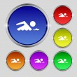 Swimming sign icon. Pool swim symbol. Sea wave. Set colourful buttons Vector — Stock Vector #53360595