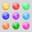 Disabled sign icon. Human on wheelchair symbol. Handicapped invalid sign. Set colourful buttons Vector — Stock Vector #53362903