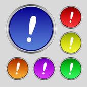 感叹号图标。注意语音泡沫符号。设置色彩缤纷的按钮。矢量 — 图库矢量图片