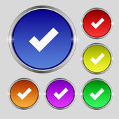 Check mark sign icon . Confirm approved symbol. Set colourful buttons. Vector — ストックベクタ