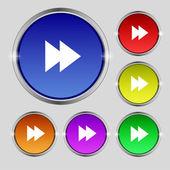 Multimedia sign icon. Player navigation symbol. Set colour buttons. Vector — Stock Vector