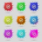 Check mark sign icon . Confirm approved symbol. Set colourful buttons. Vector — Vecteur