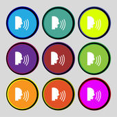 Talking Flat modern web icon. Set colour button. Vector — Stock Vector