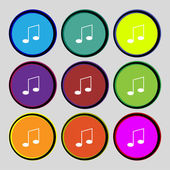 Music note sign icon. Musical symbol. Set colourful buttons. Vector — Stock Vector