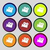 Video camera sign icon. content button. Set colourful buttons. Vector — Stock Vector