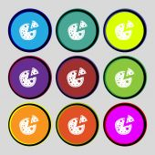 Pizza Icon. Set colourful buttons sign. Vector — Stock Vector