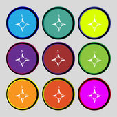 Compass sign icon. Windrose navigation symbol. Set colourful buttons. Vector — Stock Vector