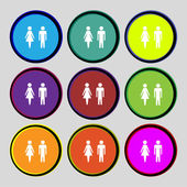 WC sign icon. Toilet symbol. Male and Female toilet. Set colourful buttons. Vector — Stock Vector