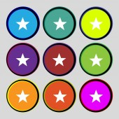 Star sign icon. Favorite button. Navigation symbol. Set colourful buttons Vector — Stock Vector