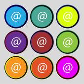 Commercial at. Set Flat modern web colour button  Vector — Stock Vector