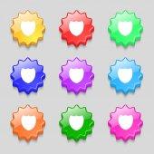 Shield sign icon. Protection symbol. Set colour buttons. Vector — Stock Vector
