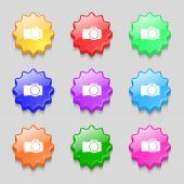 Photo camera sign icon. Digital symbol. Set colourful buttons. Vector — Stock Vector