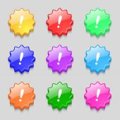 Exclamation mark sign icon. Attention speech bubble symbol. Set colourful buttons. Vector — Stock Vector
