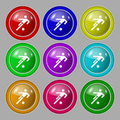 Football player icon. Flat modern Set colourful web buttons. Vector — Stock Vector