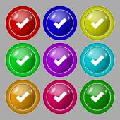 Check mark sign icon . Confirm approved symbol. Set colourful buttons. Vector — Vector de stock