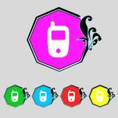 Mobile telecommunications technology symbol. Set colour buttons. Vector — Stock Vector