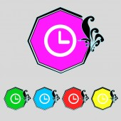 Clock sign icon. Mechanical symbol. Set colourful buttons. Vector — Stock Vector