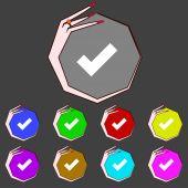 Check mark sign icon. Checkbox button. Set colourful buttons. Vector — Stock Vector