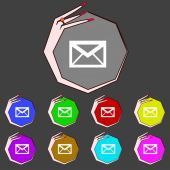 Mail icon. Envelope symbol. Message at sign navigation button Set colourful buttons Vector — Stock Vector