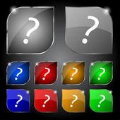 Vraagteken teken pictogram. Help symbool. Faq ondertekenen. kleurrijke knoppen vector instellen — Stockvector