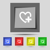 Medical heart sign icon. Cross symbol. Set colourful buttons. Vector — Stock Vector