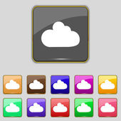 Cloud sign icon. Data storage symbol. Set colourful buttons. Vector — Stock Vector