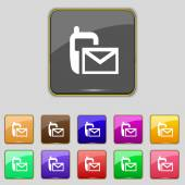 Mail icon. Envelope symbol. Message sms sign.navigation button. Set colour buttons. — 图库矢量图片