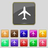 Airplane sign. Plane symbol. Travel icon. Flight flat label. Set colourful buttons. Vector — 图库矢量图片