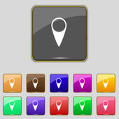 Map pointer icon. GPS location symbol. Set colourful buttons. Vector — Stock Vector