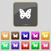 Butterfly sign icon. insect symbol. Set colourful buttons. Vector — 图库矢量图片