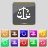 Waga sprawiedliwości znak ikony. Sąd prawa symbol. zestaw kolorowych przycisków. wektor — Wektor stockowy
