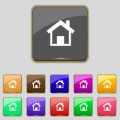 Home sign icon. Main page button. Navigation symbol.Set colourful buttons Vector — 图库矢量图片