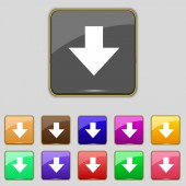 Download sign. Downloading flat icon. Load label. Set colourful buttons Vector — 图库矢量图片