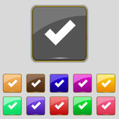 Check mark sign icon . Confirm approved symbol. Set colourful buttons. Vector — Vettoriale Stock