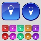 Map pointer icon. GPS location symbol. Set colourful buttons. Vector — 图库矢量图片