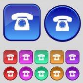 Retro telephone web icon. Set colourful buttons. Vector — Stock Vector