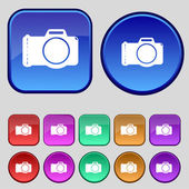Photo camera sign icon. Digital symbol. Set colourful buttons. Vector — 图库矢量图片