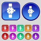 Wrist Watch sign icon. Mechanical clock symbol. Set colourful buttons. Vector — Stock Vector